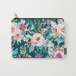 EFFUSIVE FLORAL Dark & Colorful Boho Pattern Carry-All Pouch