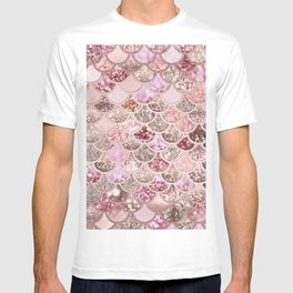 Rose Gold Blush Glitter Ombre Mermaid Scales Pattern T-shirt
