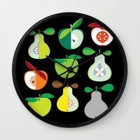 50s Wall Clocks featuring Apples and Pears / Geometrical 50s pattern of apples and pears by In The Modern Era