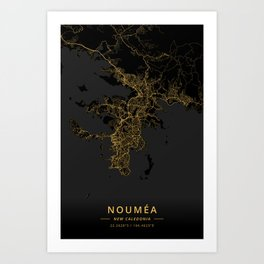 Noumea, New Caledonia - Gold Art Print