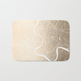 Bangkok Thailand Minimal Street Map - Gold Metallic and White III Bath Mat