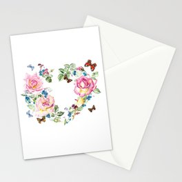 Watercolor Rose Heart Wreath Stationery Cards