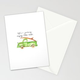 Green Truck Stationery Cards