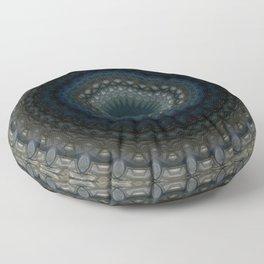 Detailed mandala in grey and blue tones Floor Pillow