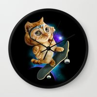 skateboard Wall Clocks featuring SKATEBOARD CAT by ADAMLAWLESS
