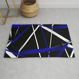 Seamless Royal Blue and White Stripes on A Black Background Rug
