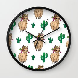 Cute Llamas Neck Gator Cactus Brown Lllama Wall Clock