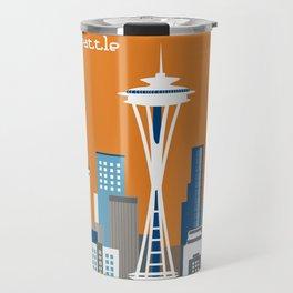 Seattle, Washington - Skyline Illustration by Loose Petals Travel Mug