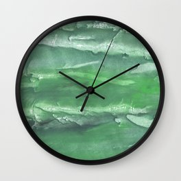 Dark sea green watercolor Wall Clock