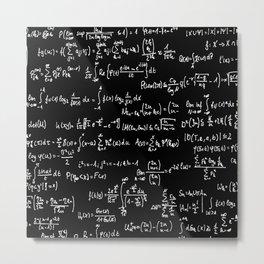 Math Equations // Black Metal Print