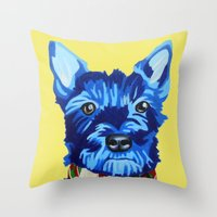schnauzer Throw Pillows featuring Mini Schnauzer  by Blue Giraffe Art Works