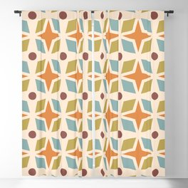 Mid Century Modern Abstract Star Dot Pattern 441 Orange Brown Blue Olive Green Blackout Curtain
