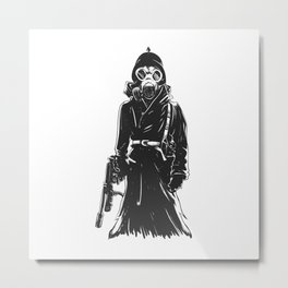 Grim reaper with gas mask,and weapon , military death illustration , gothic skull cartoon Metal Print