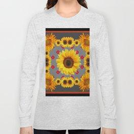 Western Blanket Style Sunflowers Grey Art Long Sleeve T-shirt