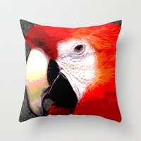 parrot Throw Pillows featuring Parrot by Whimsy Notions Designs