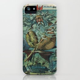 Vintage Poseidon & Sunken Ships Illustration (1898) iPhone Case
