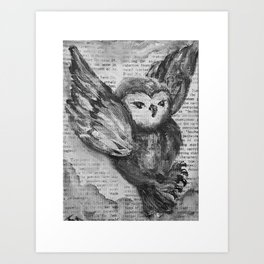black and white magical snowy owl in the clouds on library dictionary canvas Art Print