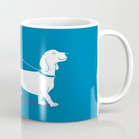 dachshund Mugs featuring Dachshund by David Soames