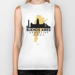 BUENOS AIRES ARGENTINA SILHOUETTE SKYLINE MAP ART Biker Tank