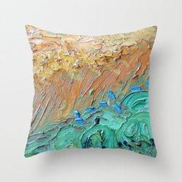 Wheat Field with Cypresses Brush Detail by Vincent van Gogh Throw Pillow