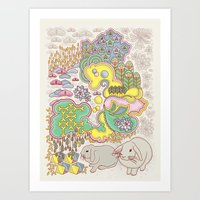 rabbits Art Prints featuring Rabbits by Raewyn Haughton