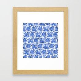 Pegasus Pattern Blue Framed Art Print