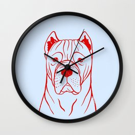 Cane Corso (Light Blue and Red) Wall Clock