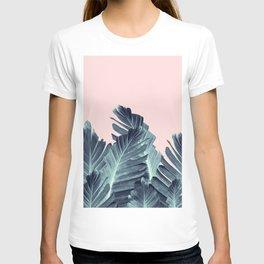 Blush Navy Blue Banana Leaves Dream #1 #tropical #decor #art #society6 T-shirt