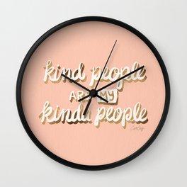 Kind People Are My Kinda People – Blush & Gold Wall Clock