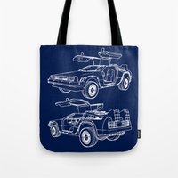 delorean Tote Bags featuring Delorean Time Machine by Paul Elder