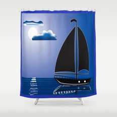 Moonlight Sail Shower Curtain
