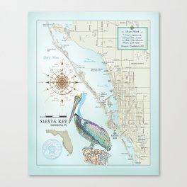 Sarasota & Siesta Key Area Map Canvas Print