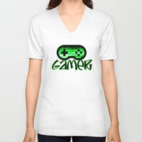 gamer V-neck T-shirts featuring Gamer Green by UMe Images