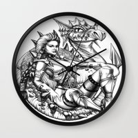 beauty and the beast Wall Clocks featuring Beauty and the beast by misscrocodile63/drawings/photo/paintings