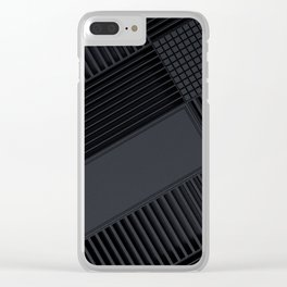 Futuristic industrial grates and technological elements Clear iPhone Case