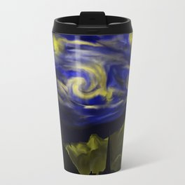 Starry Sky, a whimsical digital hand painting inspired by Starry Night by Van Gogh Travel Mug