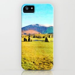 Castlerigg Stone Circle, Keswick, Cumbria, England. Watercolor Painting iPhone Case