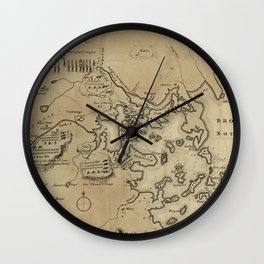 Vintage Boston Revolutionary War Map (1775) Wall Clock