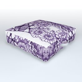Grape Wash Zentangle Tile Doodle Design Outdoor Floor Cushion