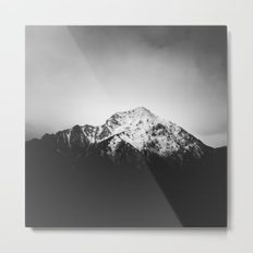 Black and white snowy mountain Metal Print