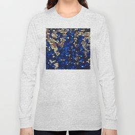 Gold and Blue Glitter Pattern Long Sleeve T-shirt
