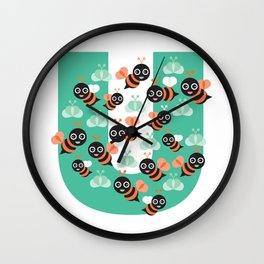 Be(e)  you, funny bee quote Wall Clock