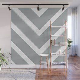 v lines wide - gray and white Wall Mural