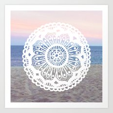 Beach Sunset Mandala Art Print
