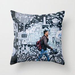MAN - BIKE - STREET - ART - PHOTOGRAPHY Throw Pillow