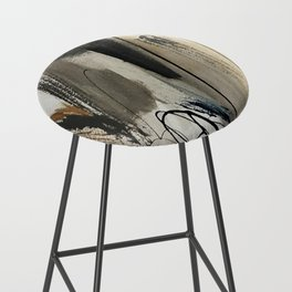 Drift [5]: a neutral abstract mixed media piece in black, white, gray, brown Bar Stool