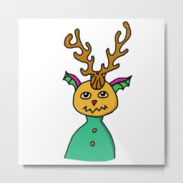 Curvy Horned Creature Metal Print