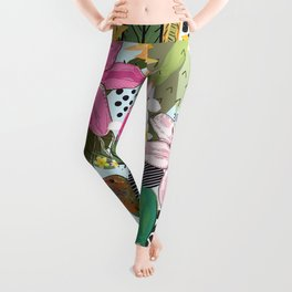Tropical Pattern With Humming Bird, Strawberry and Colorful Lily Floral Pattern Leggings