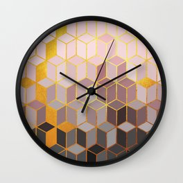 Hidden Gold Cubes Wall Clock