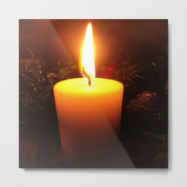 Winter's Candle, Christmas Metal Print